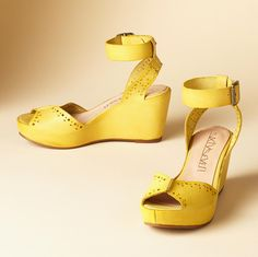 """Lemon bright #wedges made of soft leather. Ankle wrap, open toe, 3"""" heel."""