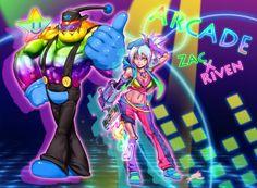 Arcade Zac X Riven by ptcrow on DeviantArt Power Glove, Otp, White Magic, Lol League Of Legends, Geek Culture, Book Worms, Arcade, Character Design, Joker