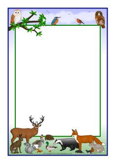 British wildlife A4 page borders (SB7852) - SparkleBox