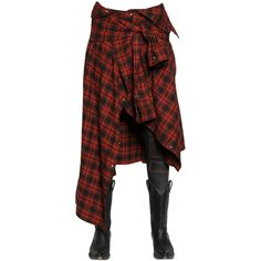 FAITH CONNEXION Shirt Effect Flannel & Lurex Skirt (1,360 CAD) ❤ liked on Polyvore featuring skirts, bottoms, pants, dolls, tops, red, flannel skirt, red striped skirt, faith connexion and red stripe skirt
