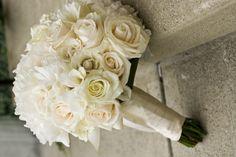 Hand Tied Bridal Boquet to include white hydrangea, eskimo roses, vendella roses, white freesia, white mojolica spray roses - Bridal Bouquets Columbus Ohio - Columbus Wedding Flowers - Columbus Weddings - cream Bridal Bouquets