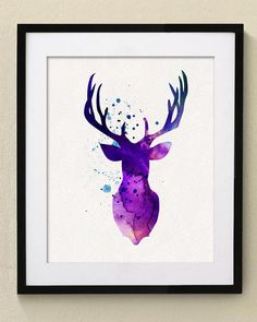 Purple Deer Watercolor Painting Wall Art par watercolormagazine