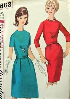 1960s LOVELY Day or Cocktail Dinner Party Dress Pattern SIMPLICITY Paris Fashion,Jewel Neckline, Two Style Versions Figure Flattery Bust 33 Vintage Sewing Pattern Dress Making Patterns, Vintage Dress Patterns, Vintage Gowns, Vintage Outfits, Vintage Fashion, Vintage Clothing, Gown Pattern, One Piece Dress, Paris Fashion
