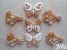 Velikonoční perníčky 2014- ptáčci-motýlci Cookie Decorating, Gingerbread Cookies, Cheesecake, Easter, Christmas, Food, Wafer Cookies, Tulips, Cookies
