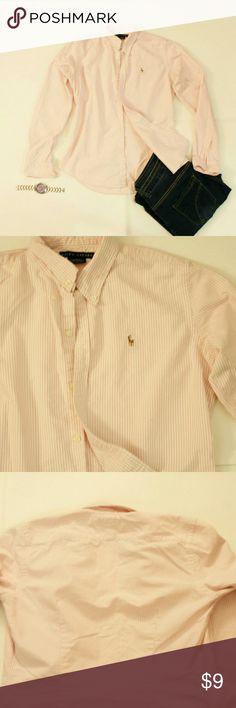 Ralph Lauren Button Down 100% Cotton / Slim fit / Pink & White Pinstripe Ralph Lauren Tops Button Down Shirts