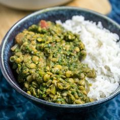 This lentil spinach curry is the most delicious way to eat your greens! Served with the best rice I have ever had. Seriously.