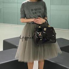 Quality 5 Layers 65cm Summer Midi Tulle Skirt Fashion Pleated TUTU Skirts Womens