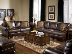 Marvelous Traditional Genuine Brown Leather Large Sofa Couch Set Living Room    Ultramodern And Inspiring Living Room Furniture Design Ideas