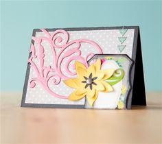Flourish & Flower Card. Make It Now with the Cricut Explore machine in Cricut Design Space and Cuttlebug.