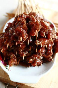 Indonesian Sate (Sate Babi and Sate Ayam Bumbu Kecap/Kacang)