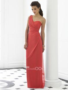 long pink coral bridesmaid dresses   Sheath One Shoulder Long Bridesmaid Dress with Draped Bodice ...
