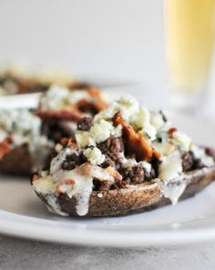 Bacon Blue Cheeseburger Potato Skins. | howsweeteats.com
