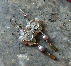 Купить CIAO, ROMA! серьги (серебро, латунь, нат.камни) - серьги, яркие, эффектные, крупные