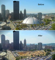Civic Arena Demolition: Before and After