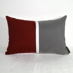 Color Block Pillow Cover - Burgundy Grey Indoor Outdoor Sunbrella by #Mazizmuse