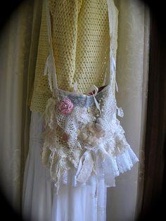 Layered Doily Bag handmade cotton vintage handmade by Dede of  TatteredDelicates