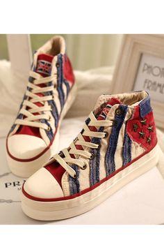 Fashion Stripe Print Star Studded Canvas Sneakers OASAP.com