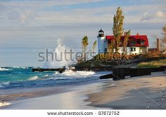 betsie bay lighthouse   Point Betsie Lighthouse Sunrise - Crystallia, Michigan USA - stock ...