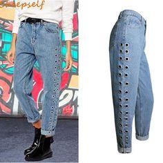d8e1ae16e7b5 US  57.0  Aliexpress.com   Buy Rivet Hollow Out Autumn Women Jeans Pants  2016 New High Waist Loose Straight BF Denim Pants Femme Jeans Long Trousers  JP056 ...