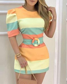 Bodycon Dress With Sleeves, Half Sleeve Dresses, Half Sleeves, Slit Dress, Trend Fashion, Look Fashion, Online Dress Shopping, Colorblock Dress, Sleeve Styles