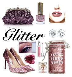 """""""Glitter and Glitz Lips"""" by modern-glam-designs on Polyvore featuring beauty, Major Moonshine, Jimmy Choo, Floss Gloss, Chicnova Fashion and Christian Dior"""