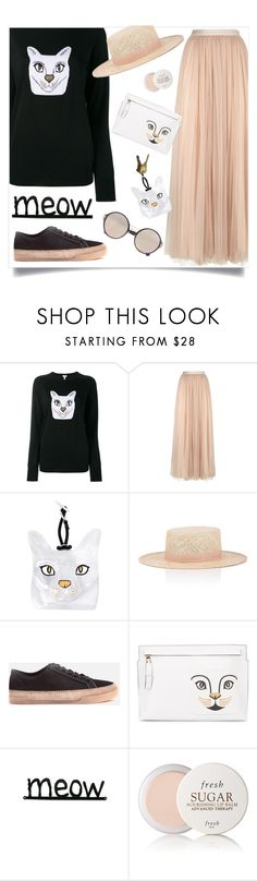 """Meow (OOTD - 8/3/17) - Top Fashion Set, 8/7/17"" by leslee-dawn ❤ liked on Polyvore featuring Loewe, Needle & Thread, Janessa Leone, Clarks, Fresh and Prada"