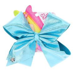 Get the classic JoJo look but with a fun twist with this super sparkly large turquoise glitter hair bow from the JoJo Siwa collection. The bow has been attached to a metal salon clip making it really easy to wear. Jojo Siwa Hair, Jojo Siwa Bows, Jojo Bows, Big Bows, Cute Bows, Jojo Siwa Outfits, Jojo Siwa Birthday, Baby Hair Accessories, Claire's Accessories
