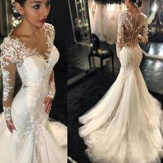 Luxury See Through Long Sleeve Sexy Mermaid Lace Tulle Wedding Dresses, WD0198 The wedding dresses are fully lined, 4 bones in the bodice, chest pad in the bust
