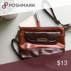 Stone Mountain cross-body bag/clutch The perfect neutral everyday bag!  Details: Like-new brown leather purse with shoulder strap or wristlet options. Spacious inside pocket holds phone, wallet, and small notebook. Additional front and back pockets for lipstick, keys, sunglasses, etc. Stone Mountain Accessories Bags Crossbody Bags