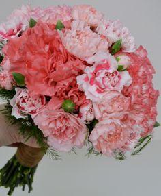 Carnation faux Peony bridal bouquet