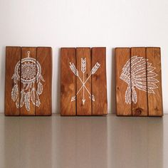 Indigenous triptych Wood Palet Reclaimed by Soulandwood