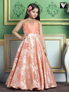 Off - Buy Peach Orange Color Zardosi Work Jacquard Kids Gown - Zoopikart Wedding Dresses For Kids, Dresses Kids Girl, Kids Outfits, Casual Outfits, Kids Frocks, Frocks For Girls, Kids Party Wear, Kids Wear, Indowestern Gowns