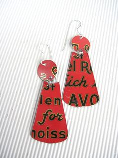 Red Worded Vintage Tin Coffee Can Earrings-Lightweight Dangles on Etsy, $26.00