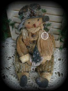 Primitive Olde Snowman Doll With His Little Pine Tree #NaivePrimitive