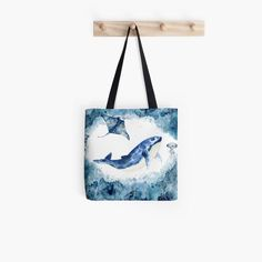 Blue watercolor whale and stingray Tote Bag