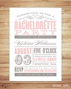 invitation - love the combination of fonts