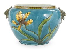 A Paul Milet earthenware turquoise-ground jardinière late 19th/early 20th century