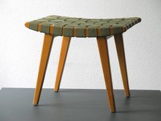 Original Jens Risom Stool Model Vostra with original covering in green - Good Vintage condition