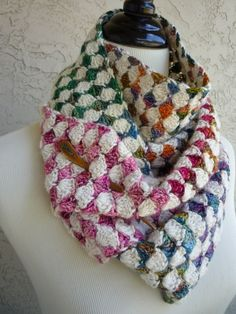Crochet scarf: would make nice afghan - alternating white & variegated rows