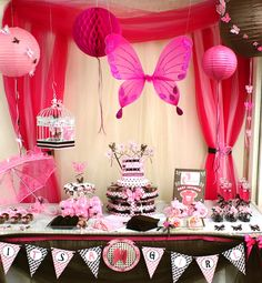 Brown and Pink Butterfly Theme Party Come see our selection of products at www.maplecraftinc.com