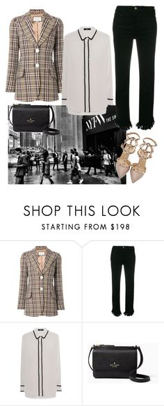 """""""Gucci plaid fitted blazer !"""" by elleandlary ❤ liked on Polyvore featuring Gucci, Frame, Steffen Schraut, Kate Spade and Valentino"""