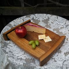 Wine Barrel Top tray by on Etsy projects Wine Barrel cutting board