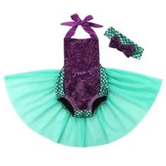 Adorable dark purple sequin romper with ribbon straps that tie in the back and spandex mermaid fabric featured on the bottom. Perfect for any mermaid birthday party, pool party, pictures, photo shoot, smash cake, and much more!