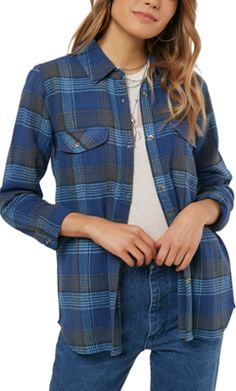0ba37f2d403 O Neill Women s Brittney Flannel Shirt Button Up