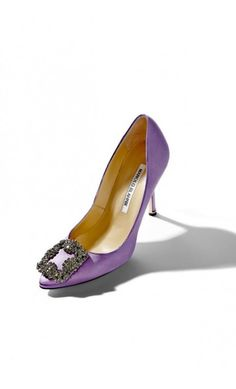 Manolo Blahnik Hangisi Lilac Satin Jewel Buckled Pump  #highheels #celebrity #rtw2018 #outfitideas #blackfriday #cybermonday2018 Manolo Blahnik Hangisi, Black Friday, Lilac, Kitten Heels, Loafers, Pumps, Jewels, Shoes, Fashion