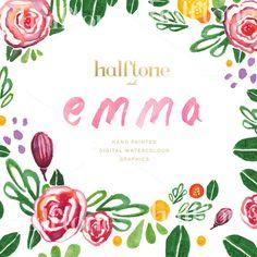 Emma Watercolour Florals by Halftone Studio on Creative Market
