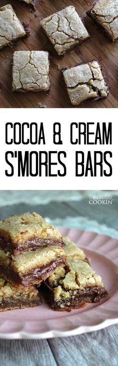 S'mores Bars made with Hot Cocoa & Cream PEEPS! These marshmallow and chocolate cookie bars are absolutely irresistible! Ooey gooey dessert bars reminiscent of having S'mores in the summer. Yum!