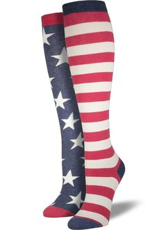 e04393f8f7355 American flag socks for women feature one sock with red and white stripes  and the other