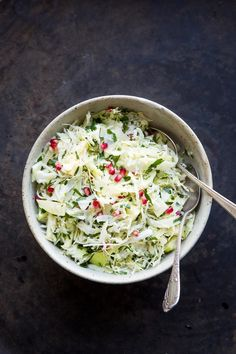 Cabbage and Fennel Slaw with Pomegranate // The Gantzery