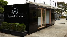 Mercedes-Benz Star Lounge - custom built registration suite. Slick black gloss exterior, bi-fold doors and lockable internal storage. Set up takes 15 minutes.